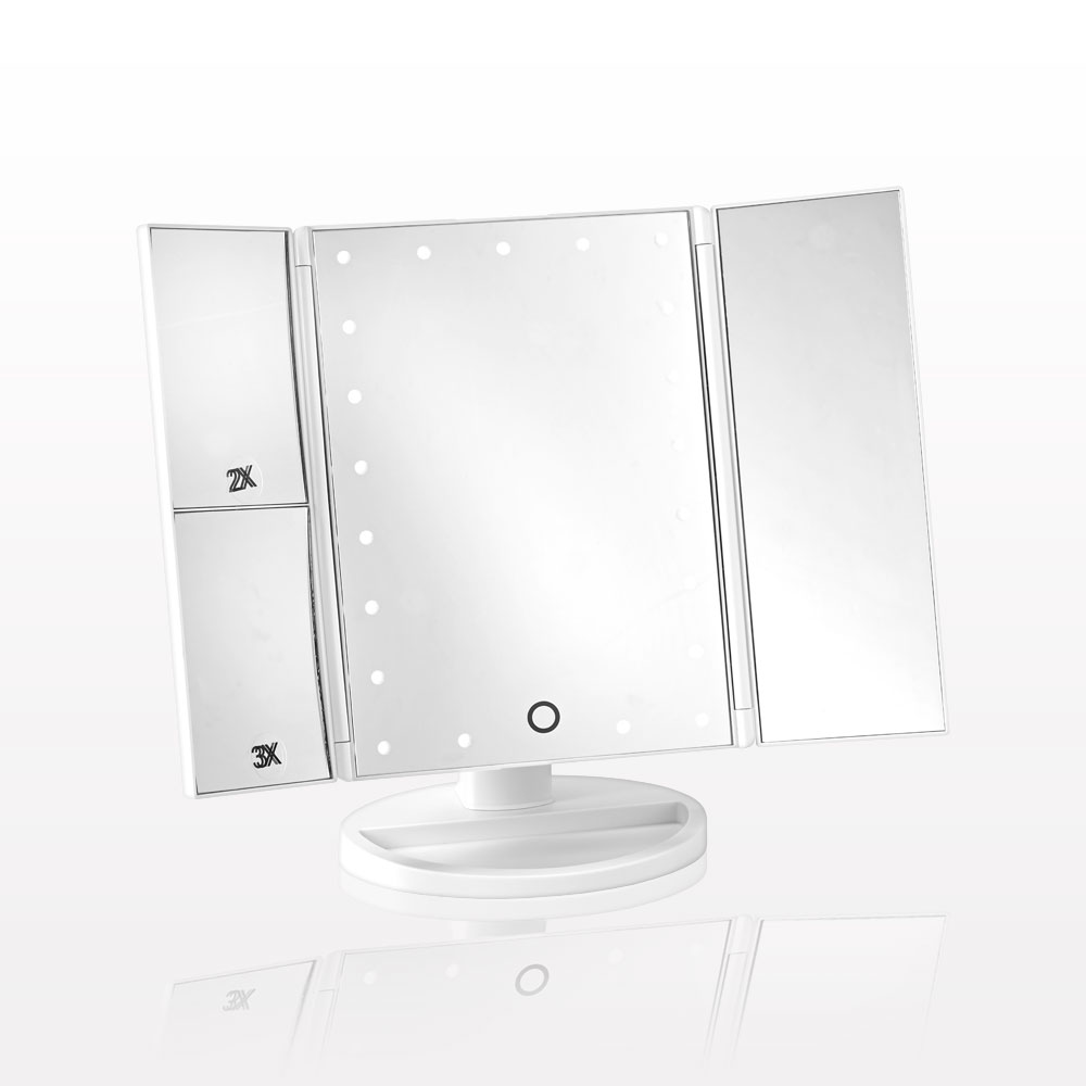 Three Panel LED Lighted Table Top Cosmetic Mirror with Storage Base