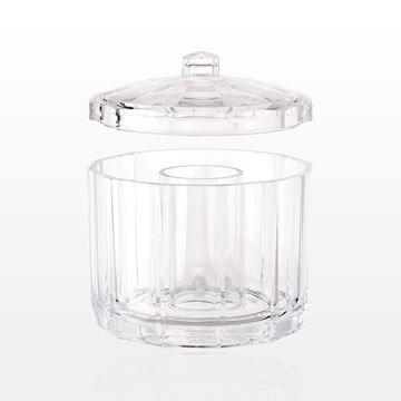 Beauty Organizer with Lid, Round with Fixed Center Cylinder for Applicators