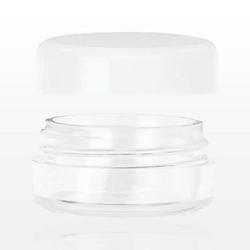 Jar with White Threaded Cap, Clear