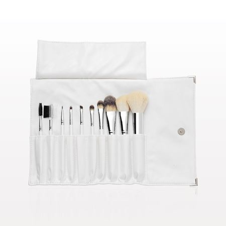 10-Piece Brush Set, Pearl White with Fold and Snap Case, White