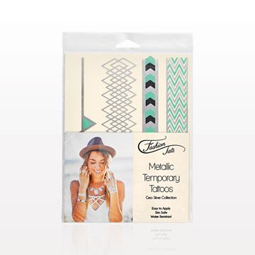 Metallic Temporary Tattoos, Geo Silver Collection