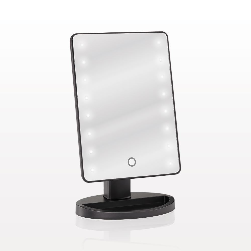 qosmedix led lighted table top cosmetic mirror. Black Bedroom Furniture Sets. Home Design Ideas