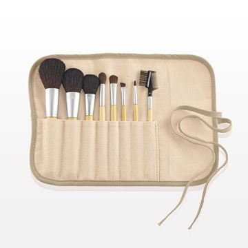 8-Piece eQo-Friendly Brush Set with Roll & Tie Pouch, Natural Hair