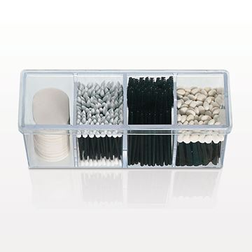 4 Compartment Beauty Organizer with Lid, Clear