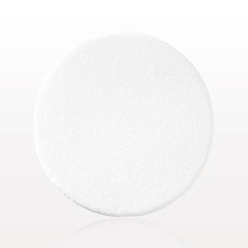Thin Round Flocked Puff with Buffed Edge, White