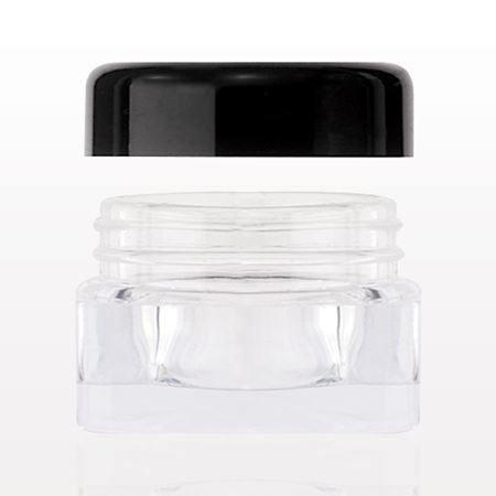 Square Jar with Black Threaded Cap, Clear