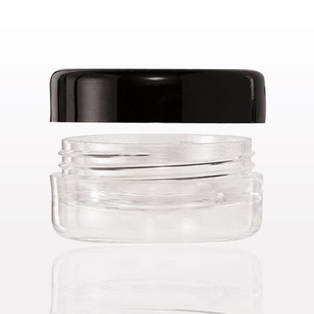 Double Wall Jar with Black Trimmed Clear Cap, Clear