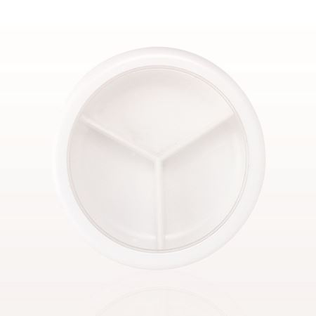 Jar and Cap with 3 Way Divider, White