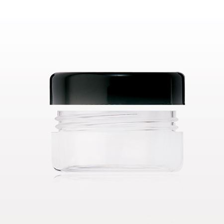 Jar with Black Trimmed Cap, Clear - 29276