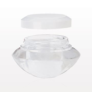 Double Wall Jar with White Cap, Clear