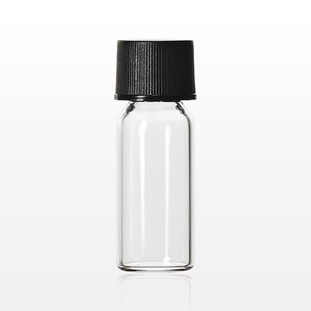 Bottle, Clear with Screw Cap, Black