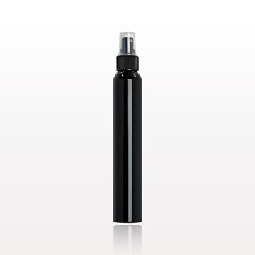 Slim Black Aluminum Bottle with Sprayer and Clear Overcap