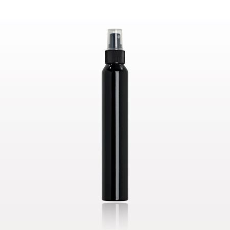 Slim Black Aluminum Bottle with Sprayer and Clear Overcap