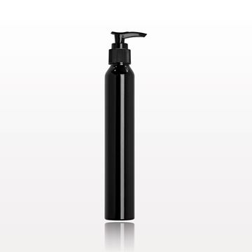 Slim Black Aluminum Bottle with Black Lotion Pump