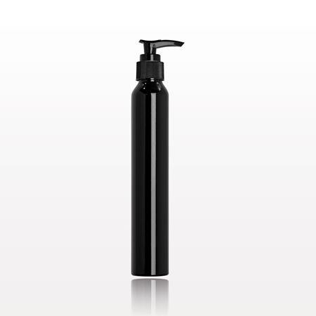 Slim Black Aluminum Bottle with Black Lotion Pump