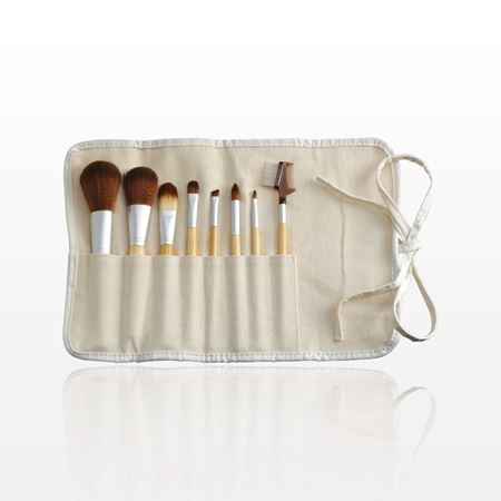 8-Piece eQo-Friendly Brush Set with Roll & Tie Pouch, Synthetic Hair