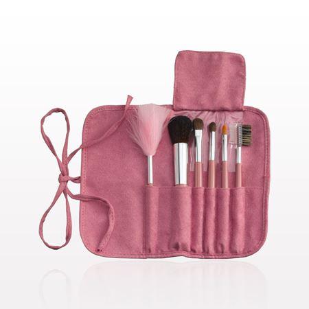 qosmedix 6piece brush set with roll  tie pouch pink