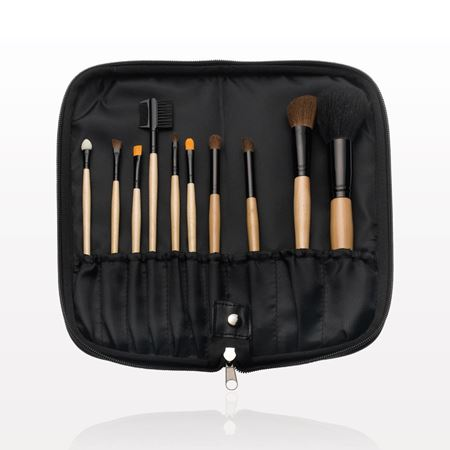 10-Piece Brush Set with Zippered Case, Black