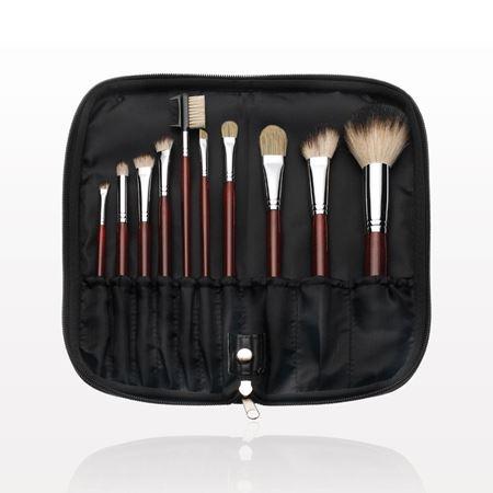 10-Piece Maroon Brush Set with Zippered Case, Black