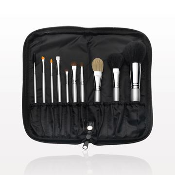 10-Piece Signature Silver Brush Set with Zippered Case, Black
