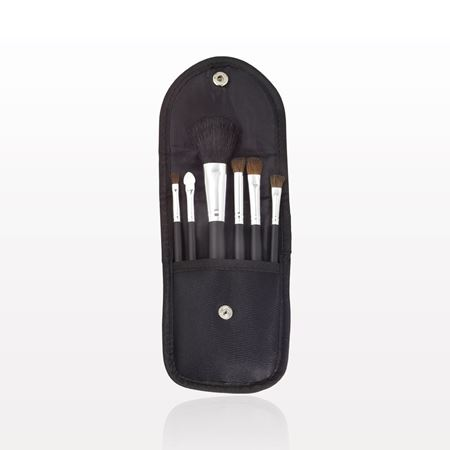 6-Piece Brush Set with Snap Front Case, Black