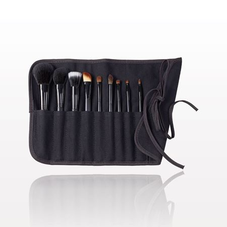 9-Piece Signature Black Brush Set with Roll & Tie Pouch, Black