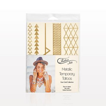 Metallic Temporary Tattoos, Geo Gold Collection