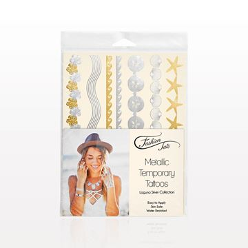 Metallic Temporary Tattoos, Laguna Silver Collection