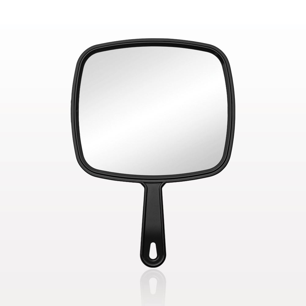 Qosmedix hand held mirror black for Mirror black