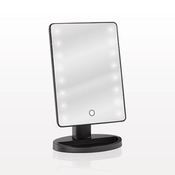 LED Lighted Table Top Cosmetic Mirror, Black
