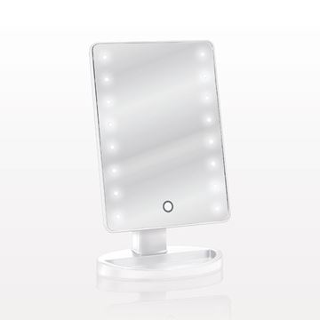 LED Lighted Table Top Cosmetic Mirror, White