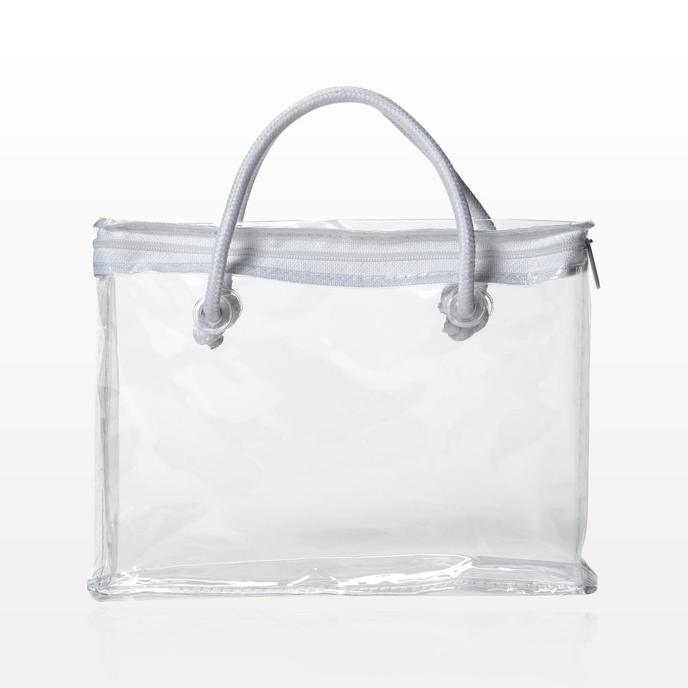 Qosmedix Zipper Bag With White Piping And Rope Handle Clear