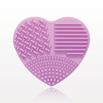 Heart Shaped Makeup Brush Cleansing Pad, Purple