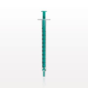 Two-Piece Syringe, Male Luer Slip Tip, Zero Dead Space, Green Plunger