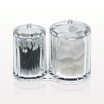 2 Attached Rounded Containers with Lids, Clear