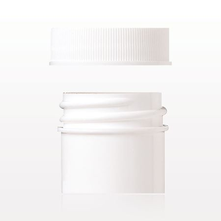 Jar and Threaded Cap with Liner, White