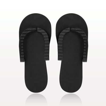 Non-Skid Pedicure Thong Slippers, Black