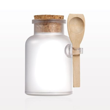 Qosmedix Frosted Apothecary Jar With Cap And Spoon