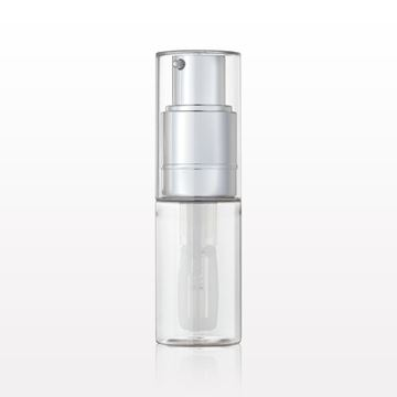 Fine Mist Powder Spray Bottle, Clear and Shiny Silver