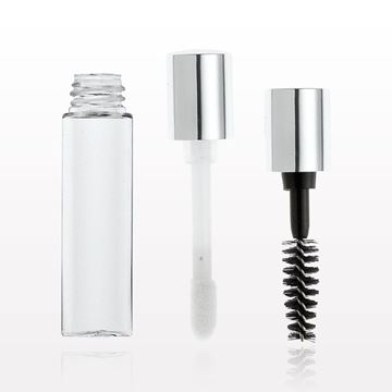 Picture of Shiny Silver Cap with Mascara Wand or Flock Doe Foot Applicator, Wiper and Vial