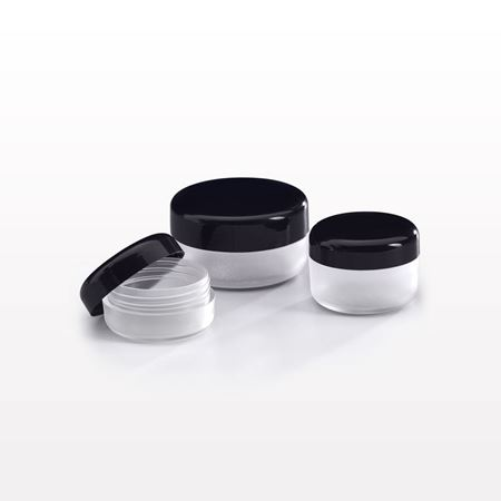 Picture of 3 gram, 5 gram and 10 gram Frosted Sampling Jars and Caps with Writeable Labels