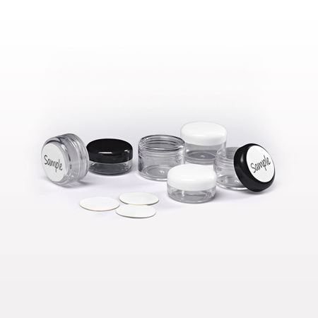 Picture of 3 gram and 5 gram Jar and Cap, with Writeable Labels