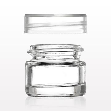 Picture of Thick Walled Glass Jar with Threaded Cap, Clear