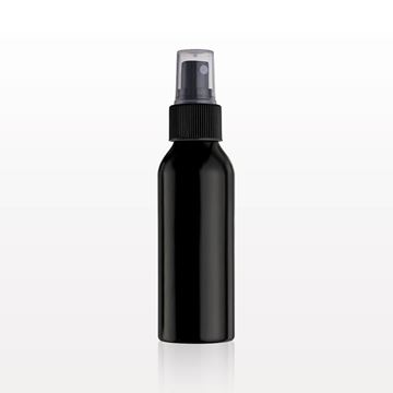 Picture of Black Aluminum Bottle and Sprayer with Overcap, Clear
