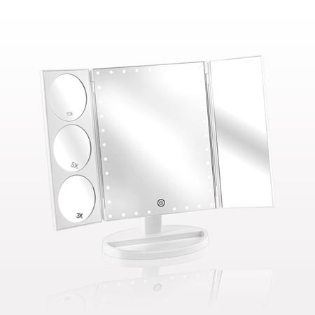 Picture of Luxury Three Panel LED Lighted Table Top Cosmetic Mirror, White