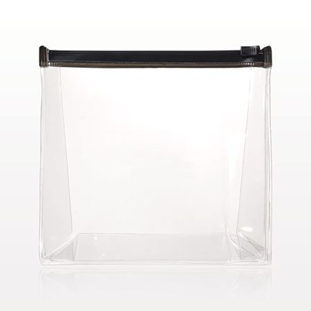 Picture of Gusseted Slide Zipper Bag, Clear with Black Trim