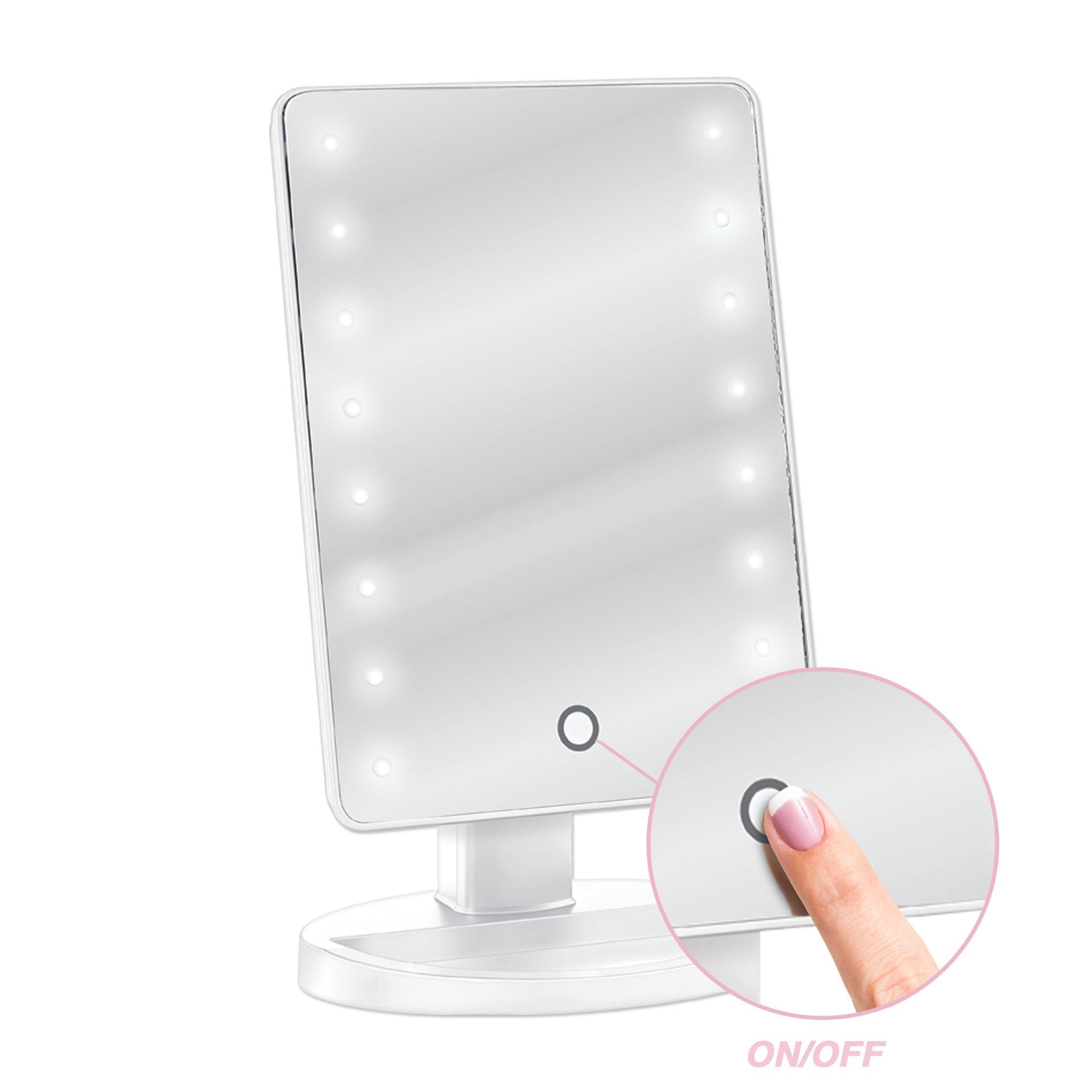 Qosmedix Led Lighted Table Top Cosmetic Mirror White