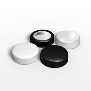Flat Threaded Caps: Black, Window Cap with Black Trim, White and Clear for 29264, 29595, 29578, 29579 - 29574 - 29575 - 30036 - 30037