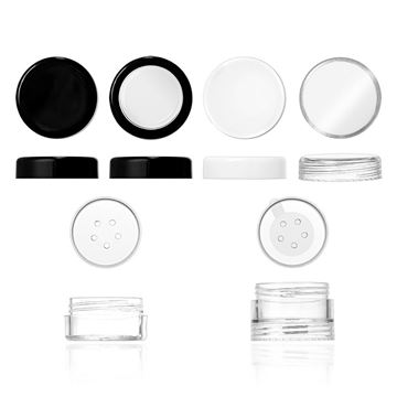 Double Threaded Stackable Jar and Base Jar, Clear; Flat Threaded Caps: Black, Window Cap with Black Trim, White and Clear; Sifter, Sifter with Sticker - 29574 - 29575 - 30036 - 30037 - 29576 - 29577 - 29578 - 29595