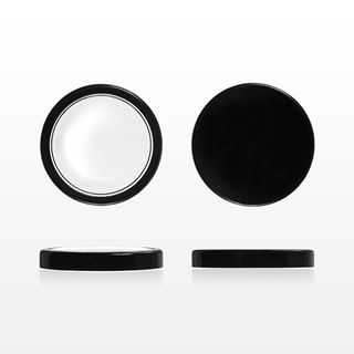 Flat Threaded Cap, Black and Flat Threaded Window Cap, Clear with Black Trim for 502210 - 502211 - 502212